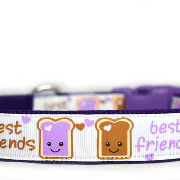 PB&J BFF Dog Collar, 1 inch wide, Peanut Butter and Jelly Friends, 4 sizes, white, purple, friends, buddies, sweet, girly, toast