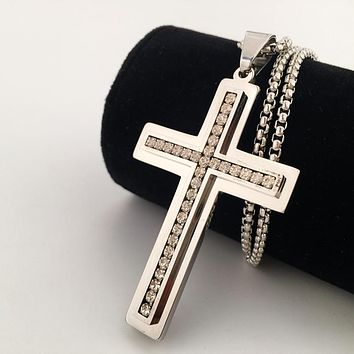 Boys & Men Fashion Hip Hop Diamond Cross Necklace