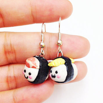 Kawaii sushi earrings, cute food earrings, miniature food earrings, polymer clay food earrings, miniature sushi, little girls earring