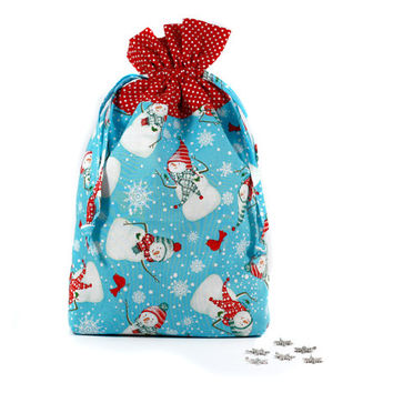 Snowman Drawstring Bag, Christmas Gift Bag, Drawstring Pouch, Blue, White and Red pouch