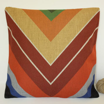 Linen Pillow, Aztec Chevron Pillow Cover, Mexican Colourful Pillow Cover, Tribal Pillow Cover, Throw Pillow, Toss Pillow, Sofa Pillow