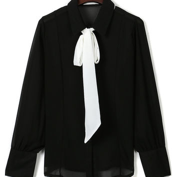 Black Contrast Bow Tie Long Sleeve Shirt