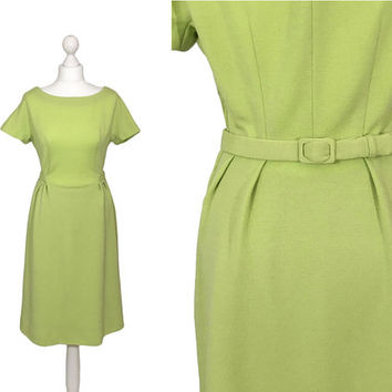 1950's Boat Neck Dress | Lime Green Wool Dress | 50's Vintage Sheath Dress