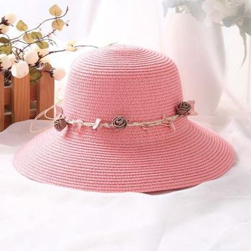 LMF78W Summer Mom Child Elegant Flower Strap Straw Sun Hat Floppy Women Beach Casual Cap