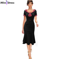 2016 New Summer Women Office Mermaid Dresses Vintage Business Bodycon Long Sleeve Slim Pinup Party Dresses Vestidos MISSDRESS