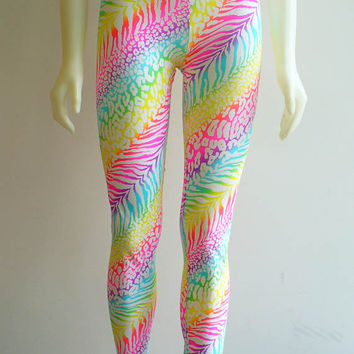 LAST PAIR  Neon Rainbow Print Leggings