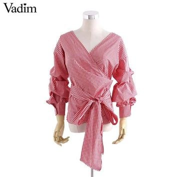 Women cross V neck bow tie plaid loose shirt lantern sleeve blouse ladies casual tops