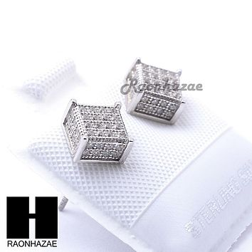 Iced Out Sterling Silver .925 Lab Diamond 6mm Square Screw Back Earring SE029S