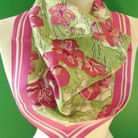 Coach Logo Silk Scarf Purple Flower Green Leaf Print Pink Border Vintage Fashion Accessory
