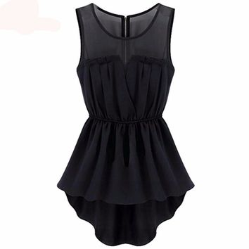 2 Colors Sleeveless Mini Skater Dress Mesh Sheer Insert Casual Slim A Line Dresses Spring Women Clothing Black Pink