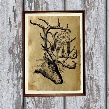 Native american art Tribal deer print  Dreamcatcher decor Wild west poster 8.3 x 11.7 inches