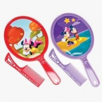 DISNEY MICKEY AND MINNIE MOUSE HAND MIRROR AND COMB SET ASSORTED DESIGNS AND COLORS SENT AT RANDOM SIZE 6""