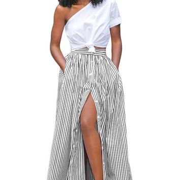 Chicloth Black White Stripes Button Front Maxi Skirt