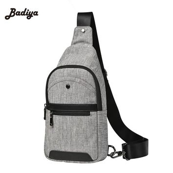 Leisure Casual Travel Canvas Grey Messenger Bags Hot Fashion Cross Body Bag New Design Men Chest Bag