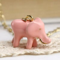 lovely pink Elephant necklace by Sevinoma on Etsy