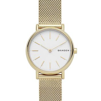 Skagen Women's Signature Gold-Tone Stainless Steel Mesh Bracelet Watch 30mm Jewelry & Watches - Watches - Macy's