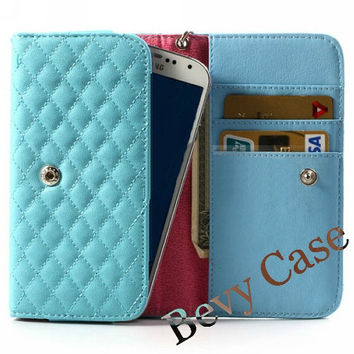 iPhone Quilted Purse, iPhone Wallet, iPhone Wristlet, iPhone Clutch, iPhone Protective Case Cover - Swan - Blue