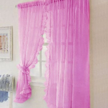 2pcs ruffled hem lace voile curtain window screening bed mantle,garden curtains for living room