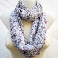 infinity scarf Loop scarf Neckwarmer Necklace scarf Fabric scarf  Grey Pink Black  Chiffon