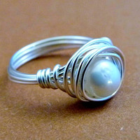 Freshwater Pearl Simple Pleasures - Wire Wrapped Ring