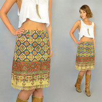 PERSIAN RUG vintage 1970s bohemian ethnic hippie neutral textile SKIRT w/fringed hemline, extra small-small