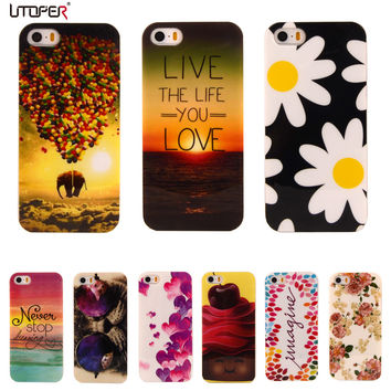 For iphone SE Flower Cartoon Pattern Rubber TPU Soft Cover For Apple iphone 5/5S Mobile Phone Protective Case For iPhone5 5S