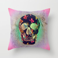 Colorful Hand Drawn Skull with Butterflies on Canvas Throw Pillow by Perrin Le Feuvre   Society6