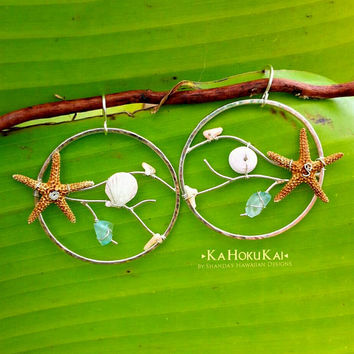 Metal Coral Starfish Shell Wrapped Hoops, Sterling Silver Hoops