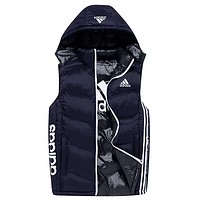 Adidas New Fashion Autumn And Winter Letter Print Wear Nn Both Sides Wear Men Leisure Hooded Vest Coat Dark blue