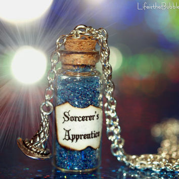 Sorcerers Apprentice Bottle of Magic Necklace with Sorcerers Hat Charm Disney Inspired by Life is the Bubbles