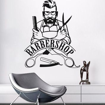 Wall Sticker Barber Shop Sign Wall Decal Removable Hipster Vinyl Stickers Beauty Salon Window Sticker Barbershop Decor AY773