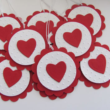 Embossed Red Scalloped Heart Tags, Valentines Day Gift Tags, Favor Tags, Wedding, Tags, Hearts