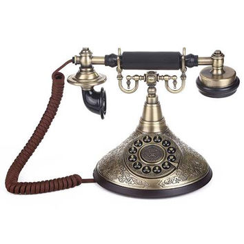 LNC Retro Antique Style Push Button Dial Table Telephone Set Home and Office Decor