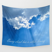 Silver lining cloud Wall Tapestry by Laureenr