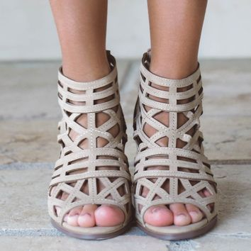 Late Arrival Caged Heels