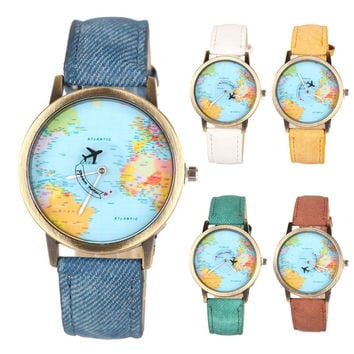 1pc women men watch clock Unisex Vintage Quartz Wrist watch World Map Airplane belt Dial round Analog Casual fabric Watch X3