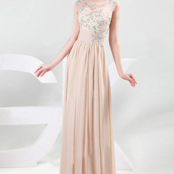 Cap Sleeves Long Beading Prom Dresses K67