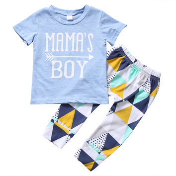 Cotton T-shirt Tops +  Geometric Pant Toddler Clothing Set