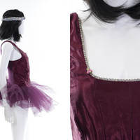 Vintage Ballet Tutu Skirt Professional Dance Performance Burgundy Rhinestone Leotard Jumper Halloween Costume