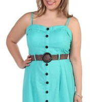 plus size corset style casual dress with button front and belted waist - debshops.com