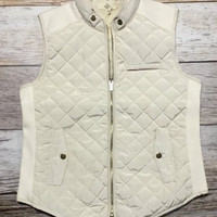 I'm in the Mood Quilted Vest- Cream