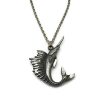 Vintage Diamond Cut Pewter Sailfish Pendant Necklace - Ocean Fish Jewelry - Nautical Animal - 18 inch Silver Tone Chain