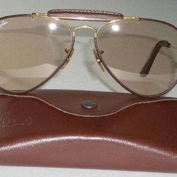 58-14 B&L RAY BAN BRN SELF DARKENING CHANGEABLES LEATHERS OUTDOORMAN SUNGLASSES