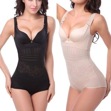 Women Sexy Thin Waist Cincher Black White Corset Underbust Full Body Tummy Control Shaper Underwear [7982970503]