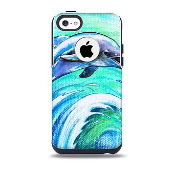 The Pastel Vibrant Blue Dolphin Skin for the iPhone 5c OtterBox Commuter Case