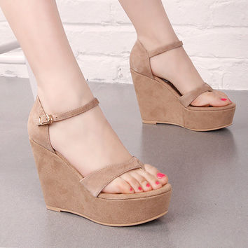 Stylish Design Summer Wedge Waterproof Height Increase Shoes Skinny Fashion Cats Sandals [4920335940]