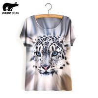 Summer Style White Tiger 3D Print T-Shirt Women Summer Clothes 2017 Round Collar Women T Shirt Female Tops