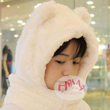 CREYCI7 2017 New Fashion Cotton Warm Animal Hoodies Hat Scarf White Fluffy Warm One Piece Set Cute Bear Winter Caps For Women Girls