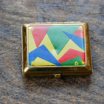 Vintage Volupte Compact Art Deco Geometric Enamel Red Blue Green Yellow Loose Powder Lip Rouge Blush 1930's // Vintage Makeup Accessory