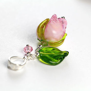 Sterling Silver Rose Pendant with Swarovski, Rose Pink Flower Lampwork Pendant, Sculpture Murano Glass Pendant, Rosebud Silver English